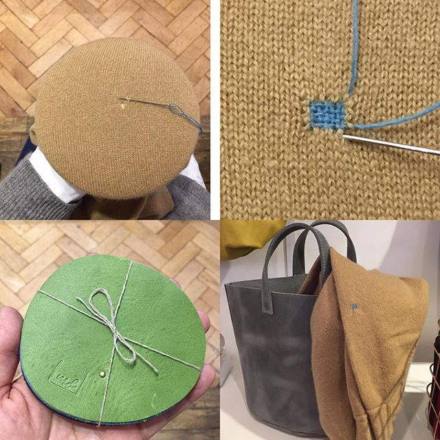 A Moss hole on a cashmere jumper!!! Quick darning for @maikodawson and swap to her leather coasters! Lucky day#mosshole #damaged #cashmeresweater #camel #darning #maikodawson #repair